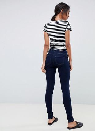 Синие джинсы скинни на резинке джеггинсы с пуш ап пушап стрейч