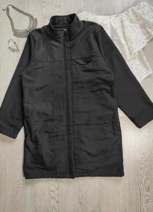 Черная мужская теплая длинная флисовая куртка на флисе спортив...