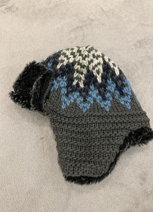 Шапка ушанка, шлем, с мехом, на флисе