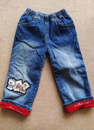 Джинсы утепленные на флисе девочка брюки штаны на зиму джогеры...