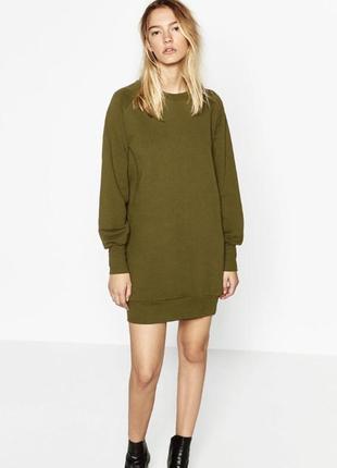 Удлиненный свитшот/платье - свитшот цвета хаки