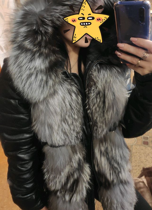 Меховая куртка , трансформер из натуральной кожи и мех Чернобурки