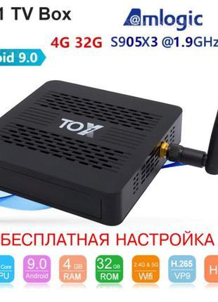 Ugoos TOX1 4/32Gb DDR4 (S905X3) Android 9.0 Смарт ТВ Приставка