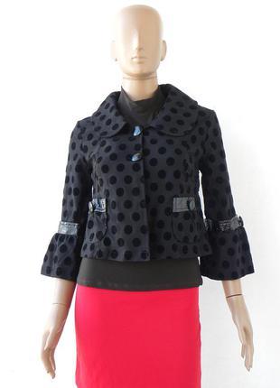 Гарне, стильне чорне болеро з тканини в горохи 44 розмір (38 є...