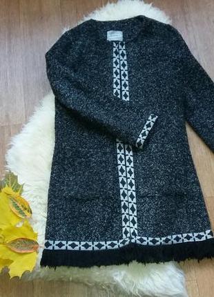 Кардиган-пальто с бахромой