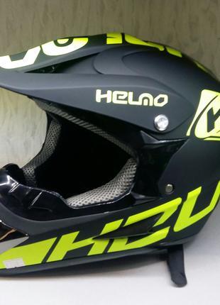 Шлем на мотоцикл  кроссовый FOX черный зеленый матовый
