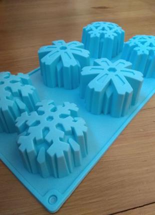 Форма силиконовая для выпечки, евродесертов снежинки на 6 ячеек