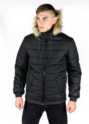 """Куртка зимняя черная мужская """"аляска"""" с мехом + подарок перчатки"""
