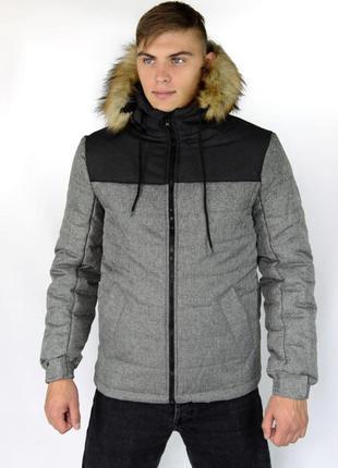 """Куртка зимняя серо - черная мужская """"аляска"""" с мехом + подарок..."""