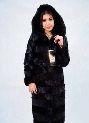 Шуба-пальто из меха нутрии с капюшоном рр 56-58