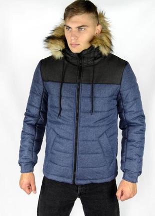 """Куртка зимняя сине - черная мужская """"аляска"""" с мехом + подарок..."""
