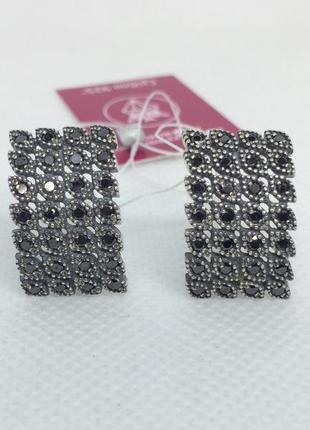 Новые красивые серебряные серьги шпинель чернение серебро 925 ...