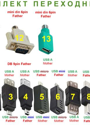 Адаптер Переходник штекер/гнездо USB micro A mini din 6pin RS 232
