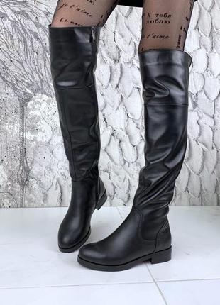 36-40. роскошные зимние замшевые кожаные сапоги ботфорты