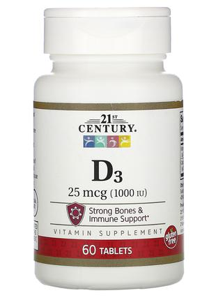 Витамин Д3 D3, 1,000 МЕ, 60 табл. 21st Century, США