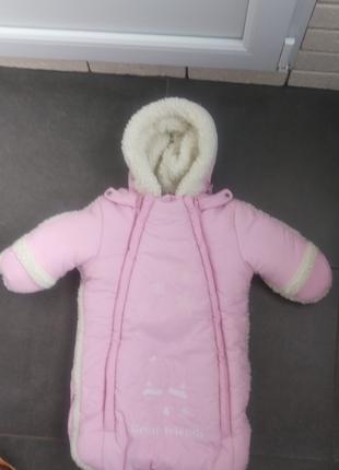 Зимний комбинезон-конверт, розовый, 76 см.