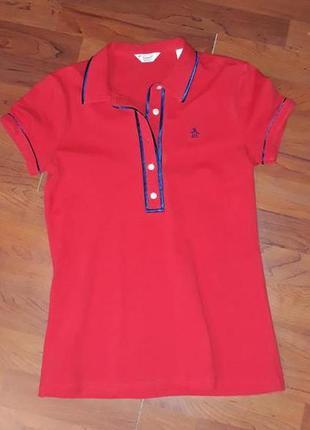 🎁1+1=3 фирменная красная женская футболка поло penguin оригина...
