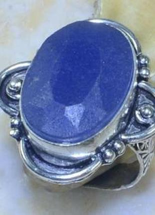 Кольцо с природным сапфиром в серебре 18,5 р