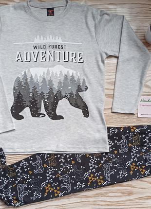 Пижамы теплые,хлопковые, стильные на мальчика 7-12 лет