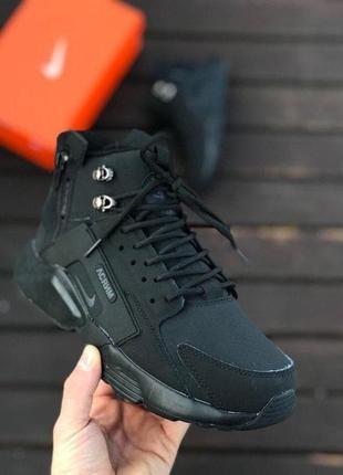 Шикарные зимние кроссовки унисекс nike air huarache acronym black
