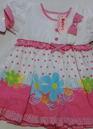 """Новое бело-розовое платье с цветами + повязка """"baby c"""" от """"cha..."""