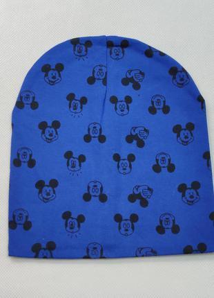 Детская хлопковая шапка для мальчика микки 1-5 лет синяя 5300-11