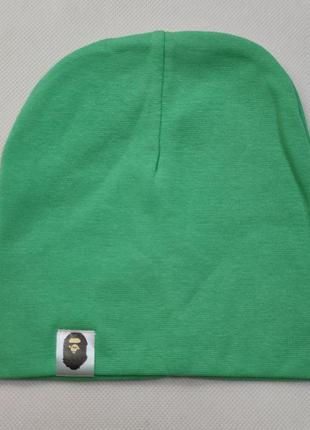 Детская хлопковая шапка для мальчика светло зеленая  1-3 года ...