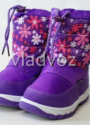 Детские дутики зимние сапоги на зиму для девочки фиолетовые li...