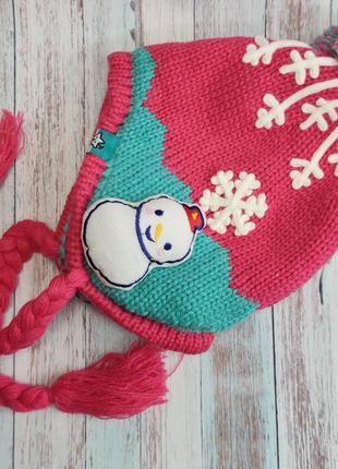 Детская зимняя шапка для девочки снеговик 4-8 лет