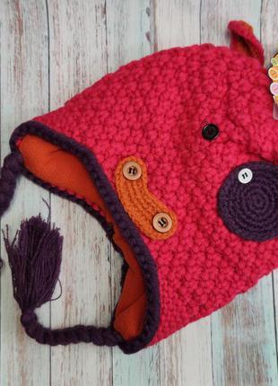 Детская утепленная демисезонная шапка для девочки коровка 0-18...