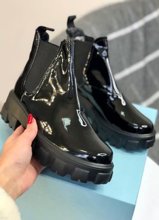Ботинки Prada Beatle Boots Gloss Fur