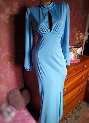 Голубое вечернее платье русалка в пол с длинными рукавами и вы...