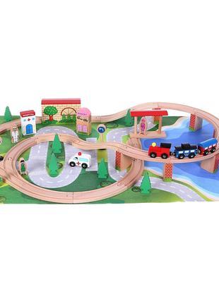 Деревянная железная дорога 50 элементов коврик EcoToys HJD93949