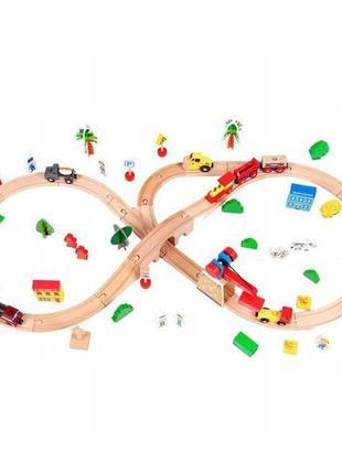Деревянная железная дорога на батарейках EcoToys HM008999 78 элем