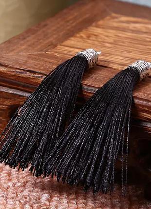 Длинные серьги кисточки щеточки чёрные 10см