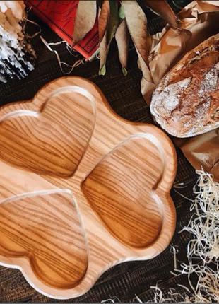 Менажница «Сердечки», Посуда из дерева,Тарелка