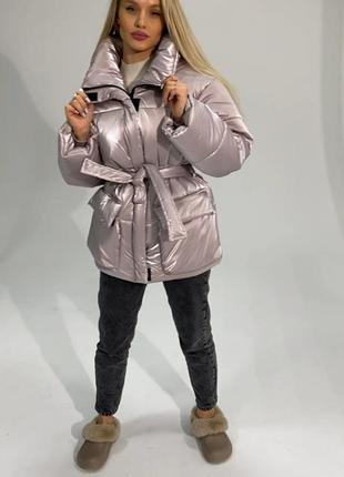 Зимняя куртка пуховик с поясом