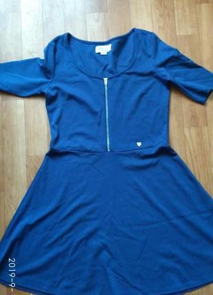 Платье синее, короткий рукав