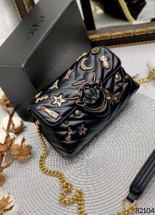 Чёрная кожаная женская сумка птички