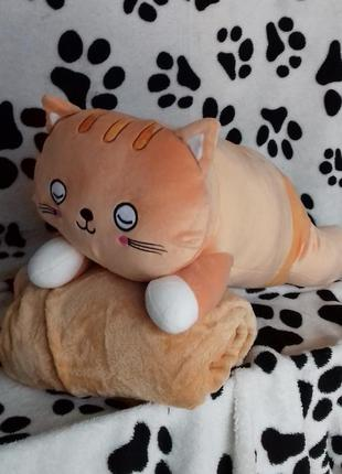 Плед с подушкой котик