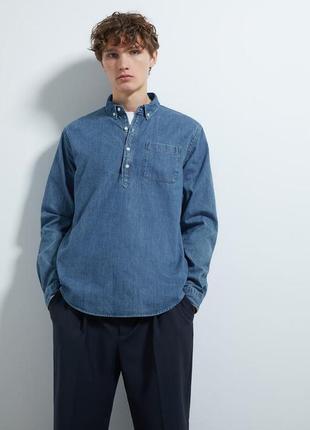 Мужская джинсовая рубашка-поло zara