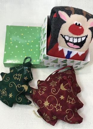 Новогодние махровые носочки в  подарочной упаковке