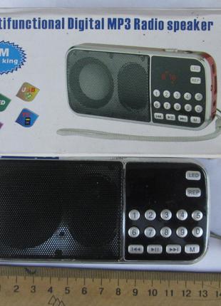 Радио FM, MP3, AUV, USB, TF, microCD, фонарь.