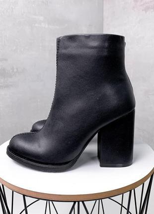 Женские зимние чёрные кожаные ботильоны на каблуке,чёрные зимн...