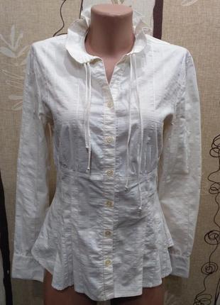 Pietro filipi белая приталенная рубашка, блузка