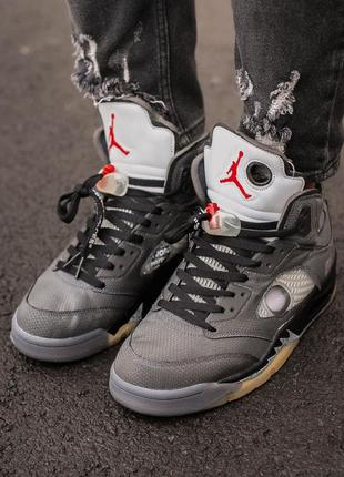 Мужские кроссовки nike air jordan retro 5 x off white