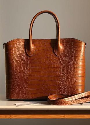 Большая женская кожаная сумка италия кожаная  вместительная же...