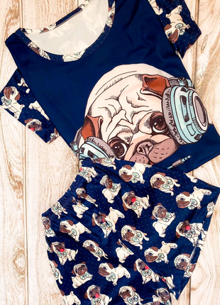 Пижама мопс синий