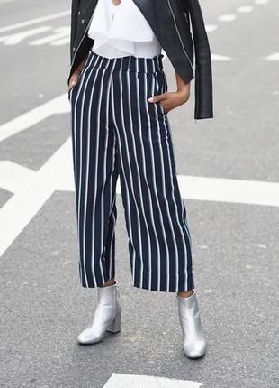 🎁1+1=3 крутые модные высокие штаны кюлоты h&m в полоску высока...