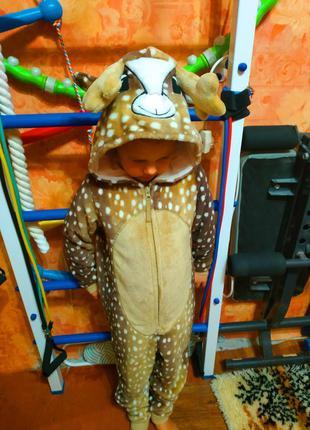 Фирменный новогодний карнавальный костюм оленёнка на 7-8 лет, m&s